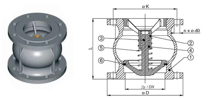 Клапан обратный осевой, уплотнение нитрил